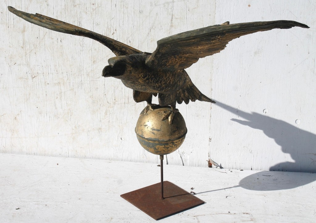 The $3,600 realized by this copper eagle weathervane was the top price of the category. It had a zinc head and a 48-inch wing spread.