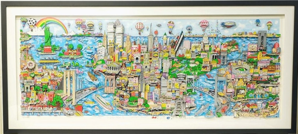 """A collector in the United States paid $11,070, the second highest price in the sale, for Charles Fazzino's """"The World Loves NYC."""" It was one of 11 works by the artist in the sale, all from a Meriden, Conn., collection ($4/6,000)."""