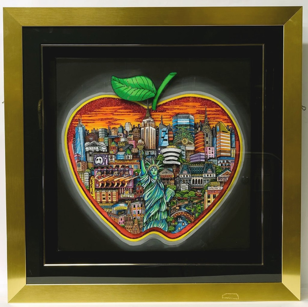 """A buyer in Germany who acquired a few works by Charles Fazzino paid $9,840 for """"New York: Big Apple,"""" which measured 47½ by 47½ inches and was embellished with Swarovski crystals ($4/6,000)."""