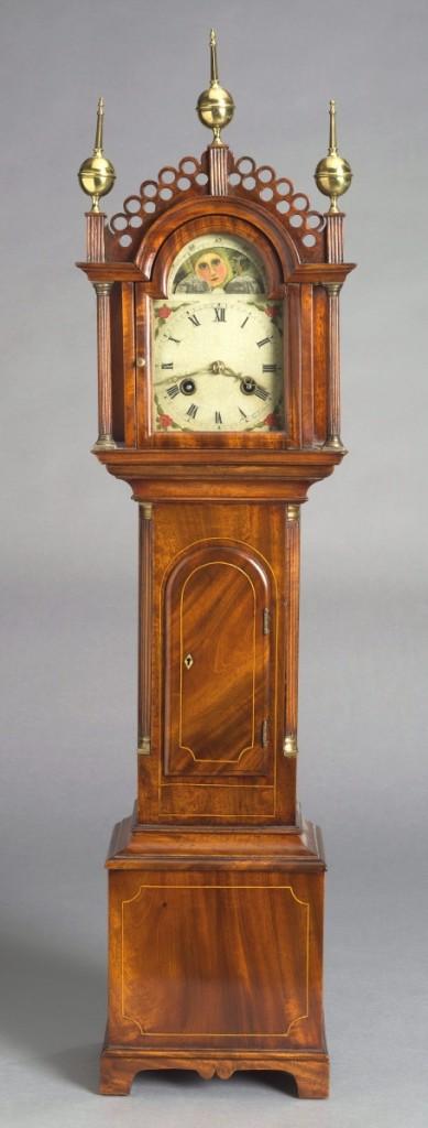 Miniature tall case clock, New England, circa 1800. Mahogany, white pine, glass, brass and steel.