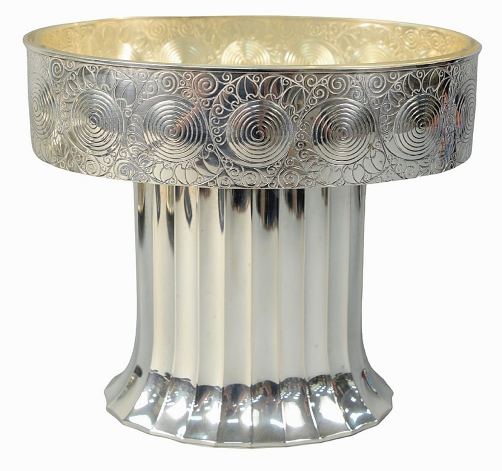 Leading the silver offerings was this Hans Bolek (1890-1978) pedestal fruit bowl made by Eduard Friedmann, Vienna, which brought $17,500 against its $ ,000 estimate.