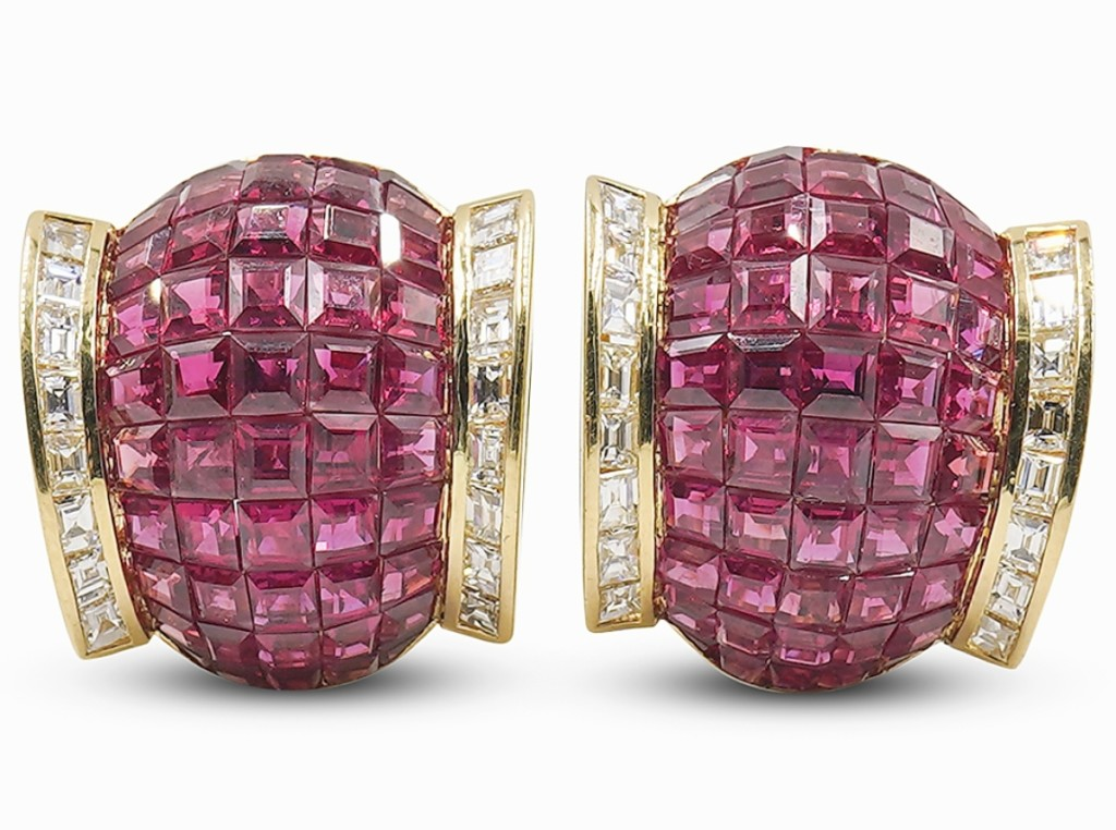 """From France and circa Twenty-First Century, a Van Cleef & Arpels-style """"Mystery Set"""" 18K and ruby earrings earned $4,690."""