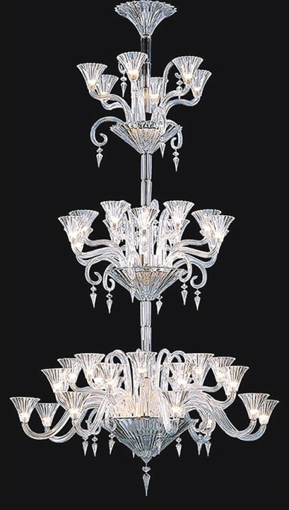 In its catalog listing for this massive 42-light chandelier, 105¼ by 51½ inches, designed by Mathias, Nadeau's said it would offer the successful bidder the services of a specialist to dismantle, deliver and reassemble it within a 100-mile radius for approximately $ ,000. It brought $43,750.