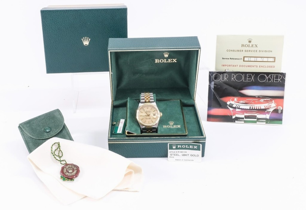 """""""Auctions work. You get two people excited about something and it fetches a great price. That brought better than retail,"""" Brechlin said of this men's Rolex Datejust wristwatch that was accompanied by all of its original factory documentation and sold to a local buyer bidding in the room for $7,080 ($5/7,000)."""