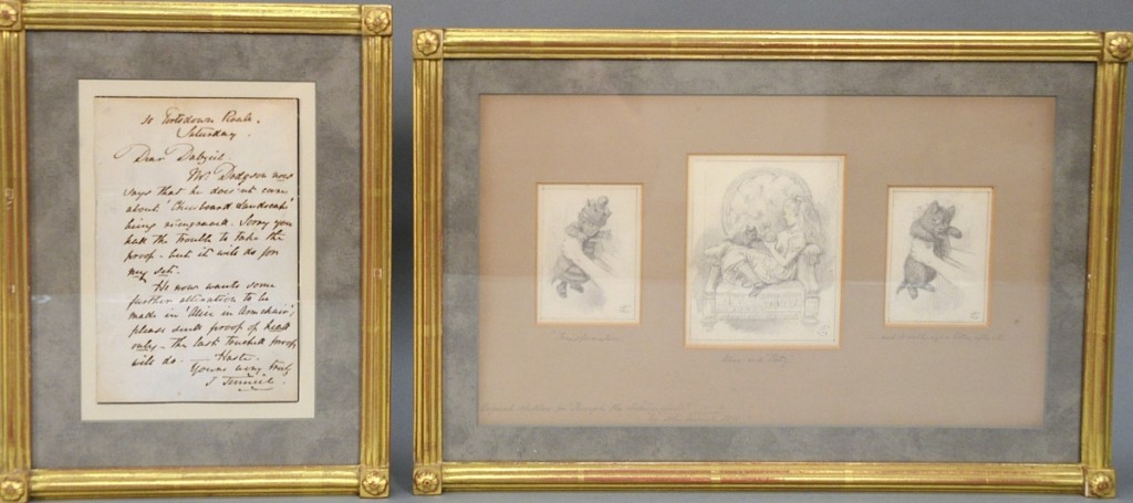 "Strong prices for illustration art with great provenance prevailed. A set of three original pencil drawings from Alice's Adventures in Wonderland by English illustrator John Tenniel (1820-1914) reached $72,000. All were signed and monogrammed along with a written letter by the artist talking about ""Alice in the Armchair,"" and provenance went back to the consignor's great-great-uncle Bronson Winthrop, who was a philanthropist and socialite from Paris who moved to New York and whose father was founding member of Knickerbocker Club in New York."