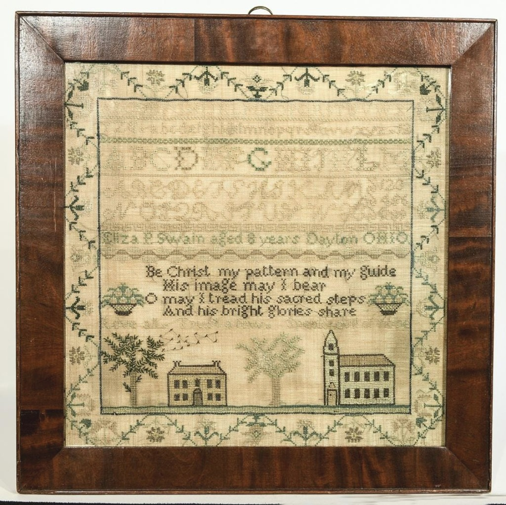 Worked by Eliza Swain of Dayton, Ohio when she was 8 years old, this sampler would go on to produce $9,300. Wagner Collection.