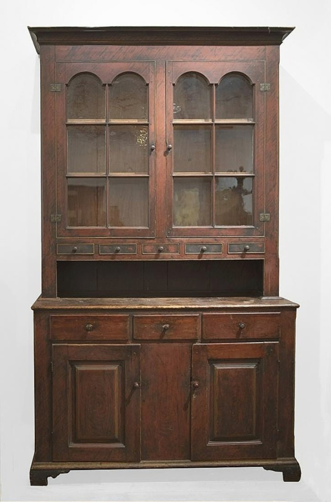 The highest selling piece of full-size furniture from the Wagner Collection was this two-part Dutch cupboard, Pennsylvania, circa 1810. It sold for $6,600.