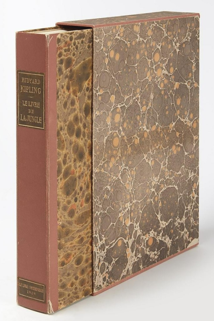 Giampietro said that he photographed every page of Rudyard Kipling's Le Livre de La Jungle for prospective bidders. It was a loose leaf unbound edition in original boxed case, published by the Paris Societe du Livre Contemporain in 1919 and sold for $7,188.
