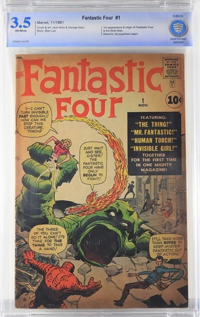 Selling for $16,800 was an issue of Fantastic Four #1, graded CBCS 3.5 with off-white pages. It was the top selling lot from a Chicago collection that supplied about 80 percent of the comic offerings in the sale. With Disney recently announcing a reboot in the Fantastic Four, Landry said this issue will probably be worth anywhere from $20,000 to $25,000 in the next few years.