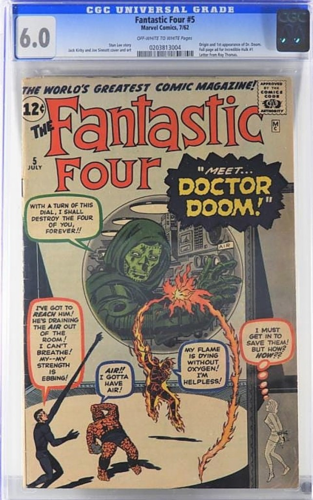 Rising to $11,400 was a Fantastic Four #5 in CGC 6.0. It featured the origin and first appearance of Dr Doom and a full-page ad for the Incredible Hulk #1. The result was a 43 percent rise in value over the previous record in this grade.