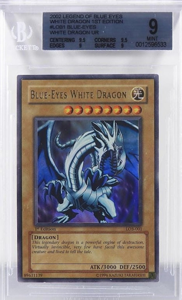 Among the sale's top lots was this Yu-Gi-Oh! Legend of Blue-Eyes White Dragon, first edition, which sold for $11,400. It was in BGS 9.0 mint.
