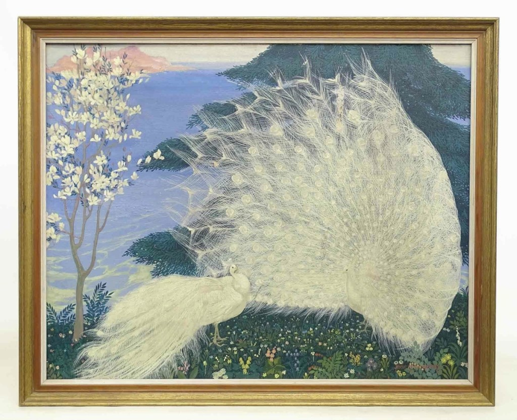 The trade and private collectors quarreled over this painting of two white peacocks by Jessie Arms Botke (1883-1971) before it sold to the former for $11,210, the sale's highest selling lot. The oil on canvas measured 24 by 30½ inches.