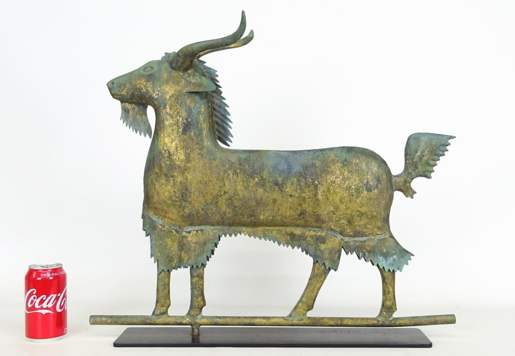 """Speaking to the uncommon nature of the form, Fallon said, """"For every ten horses you get, there's one goat."""" This weathervane, with weathered gilt surface, measured 24 inches long and sold for $10,030."""