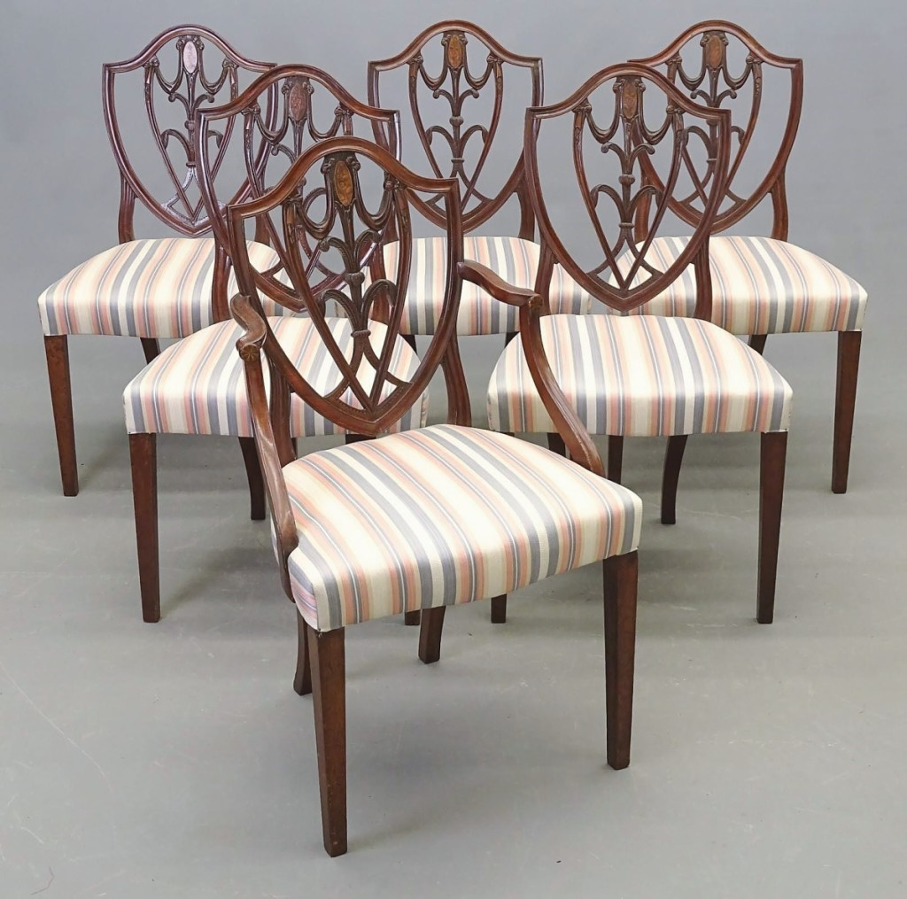 Consigned from a family that had roots in early Boston was this set of six Nineteenth Century Hepplewhite shield-back dining chairs with cotton flower inlay. The auctioneer noted that the chairs were possibly from South Carolina or Georgia. The group was the highest selling piece of American furniture in the sale as it brought $6,195.