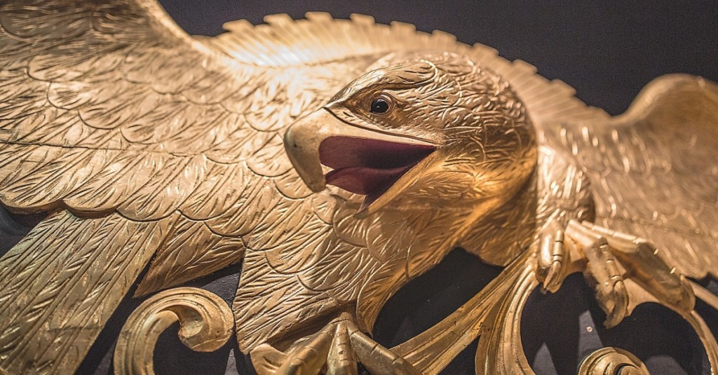 Detail of eagle stern board carving attributed to Campbell & Colby of Mystic, Conn.