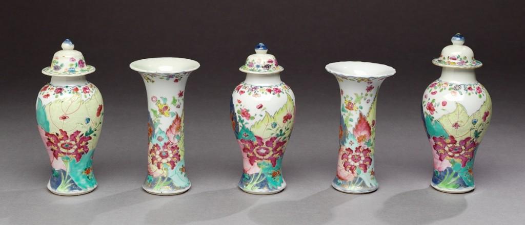 Five-piece garniture, Jingdezhen, China, circa 1785. Hard-paste porcelain.