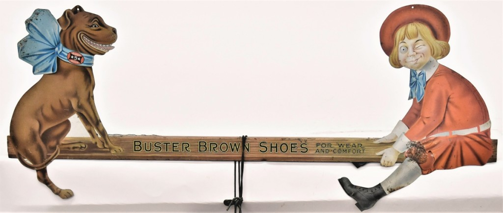 Teetering to the top of the trade signs in the sale was this Buster Brown Shoes chromolithographed example that took $4,640. The figure wears a real pair of leather black shoes and it measured 35 inches long.