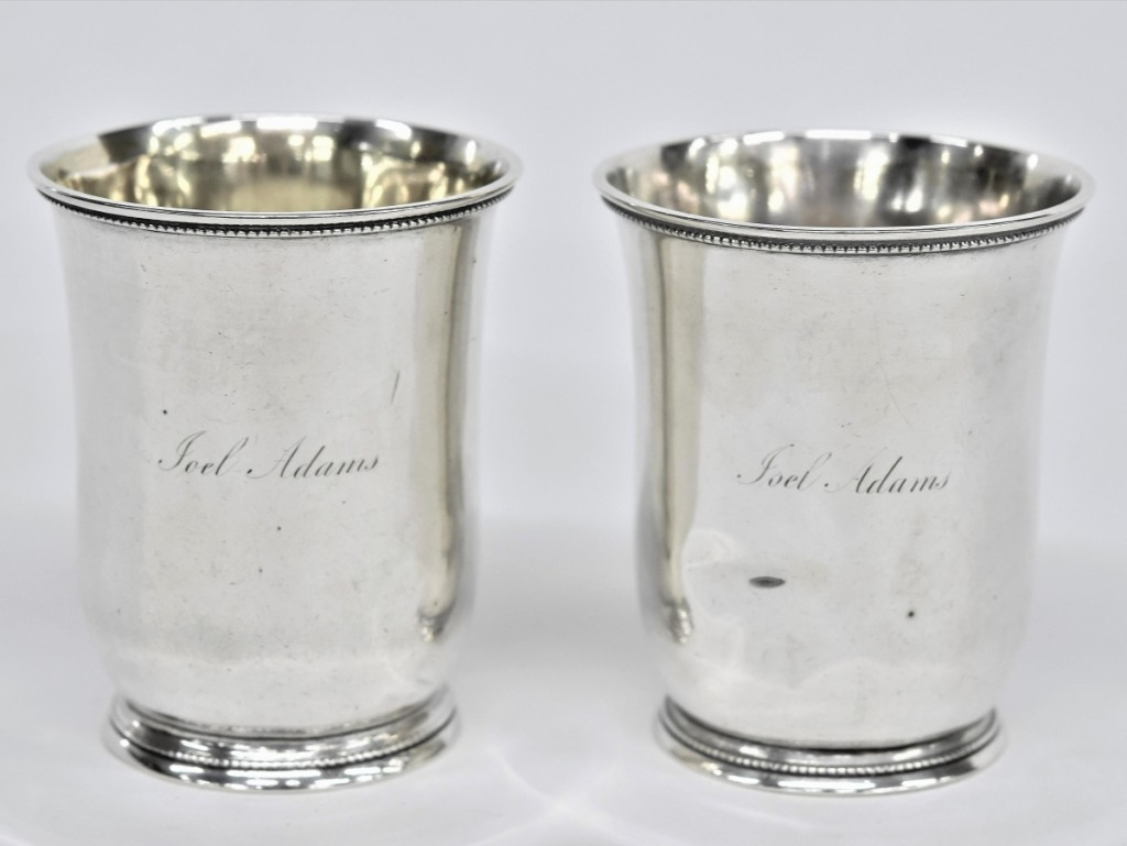 This lot of two sterling julep cups featured the monogram of Joel Adams, a member of the early and influential South Carolina political family. They sold for $5,748, while an identical lot brought $5,142. Both lots featured the mark of William Glaze, a Columbia, S.C., silversmith who would enjoy multiple partnerships throughout his career, as well as a storied reputation for his work at Columbia's Palmetto Armory.