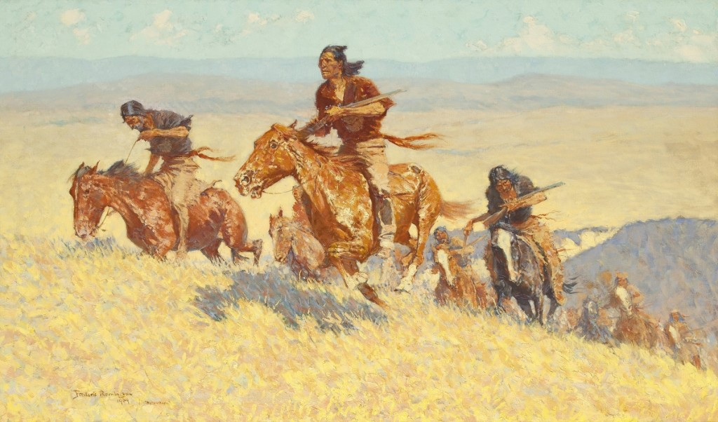 """""""The Buffalo Runners – Big Horn Basin"""" by Frederic Remington (1861-1909), 1909. Oil on canvas. Courtesy of the Sid Richardson Museum, Fort Worth, Texas."""