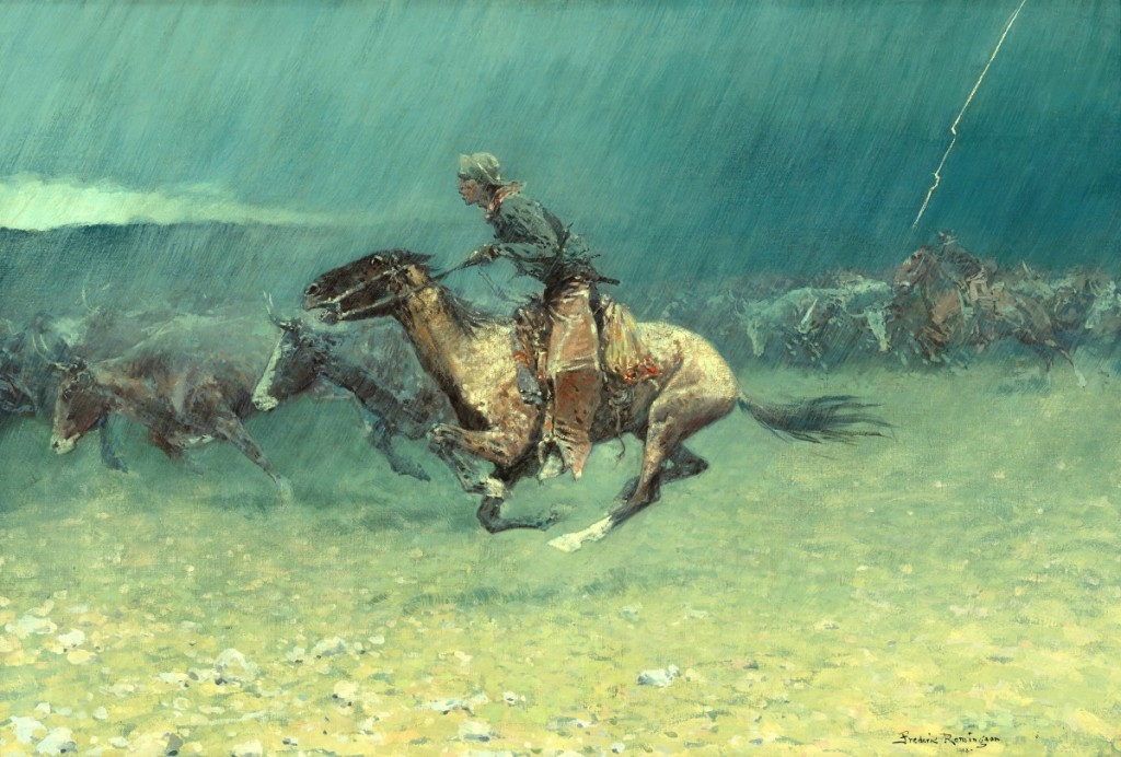 """""""The Stampede"""" by Frederic Remington (1861-1909), 1908. Oil on canvas. Gilcrease Museum, Tulsa, Okla., gift of the Thomas Gilcrease Foundation."""