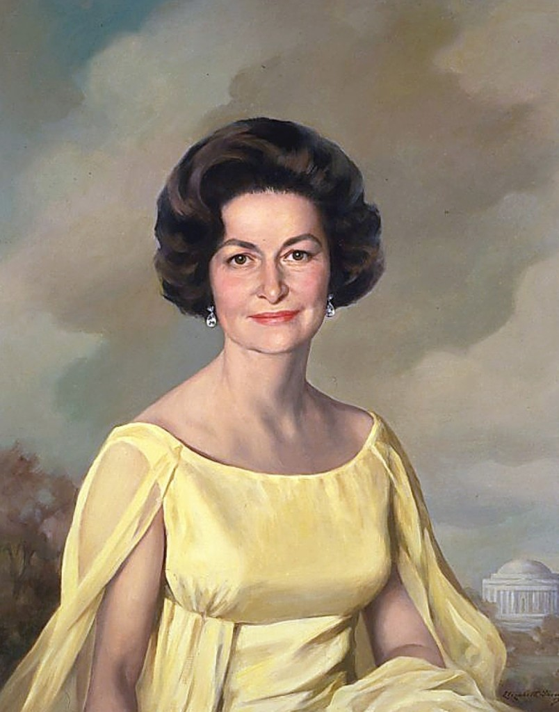 """Lady Bird Johnson"" by Elizabeth Avinoff Shoumatoff, 1968, oil on canvas, the White House, photo courtesy the White House Historical Association."