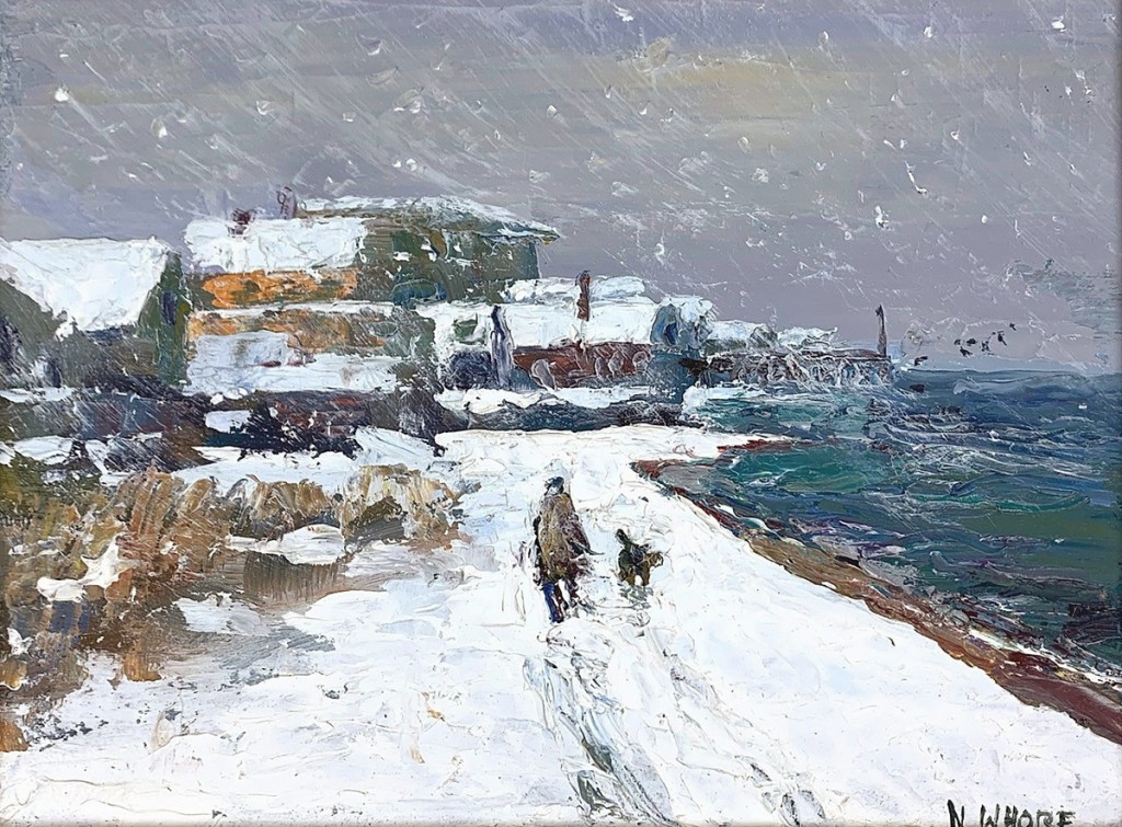 """Nancy Whorf's """"Ice House Beach Snow"""" reached $34,375."""