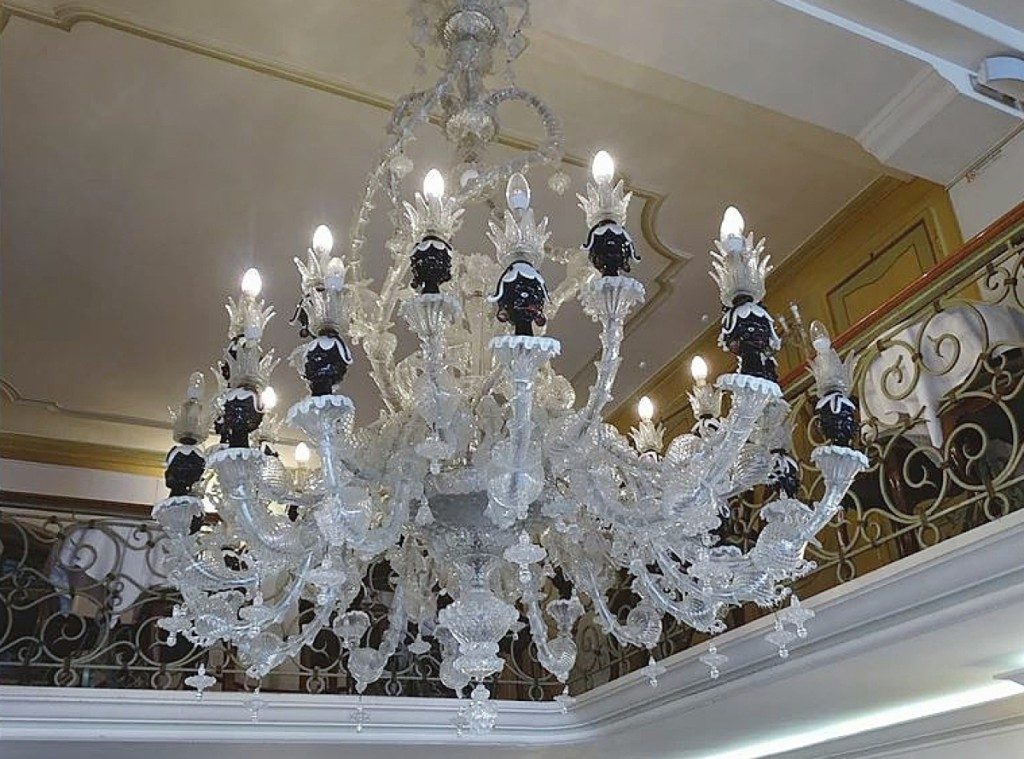 Murano glass chandelier, Eighteenth Century, Cafe Lavena, San Marco, Venice, Italy.