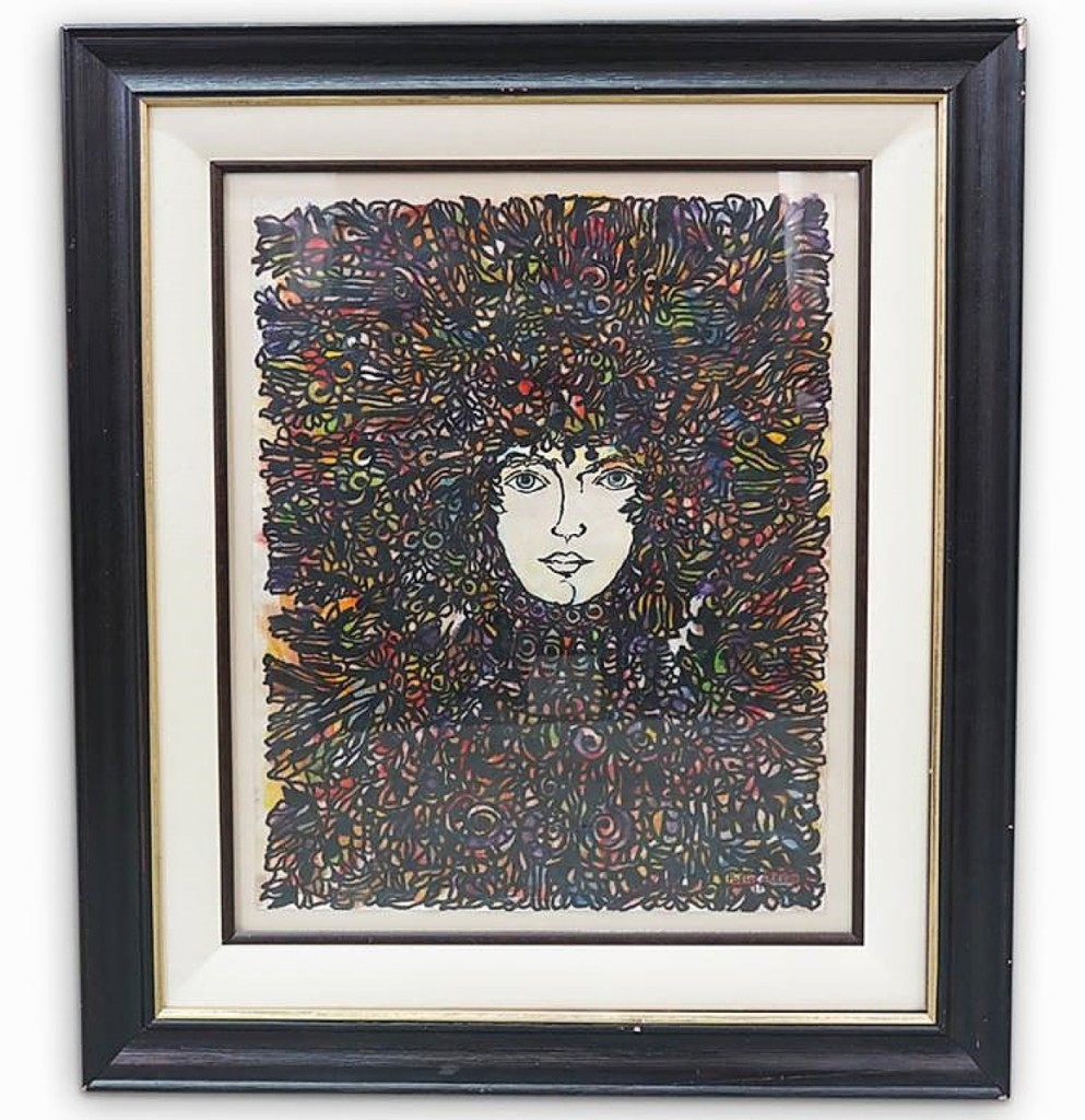 """Cuban artist Rene Portocarrero (1912-1985) created """"Cabeza Ornamentada"""" in 1961, the same year he met with Fidel Castro. The painting realized $4,063."""