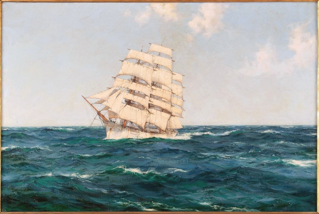 The sale's third highest lot was a portrait of the Abner Coburn by Montague Dawson. It sold above estimate for $31,250.