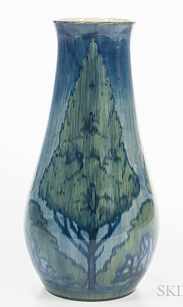 The sale's top piece of pottery was this Newcomb Pottery vase by Olive Webster Dodd. It featured alternating tree designs and the firm said it was early, dating to circa 1900. It brought above estimate at $18,750.