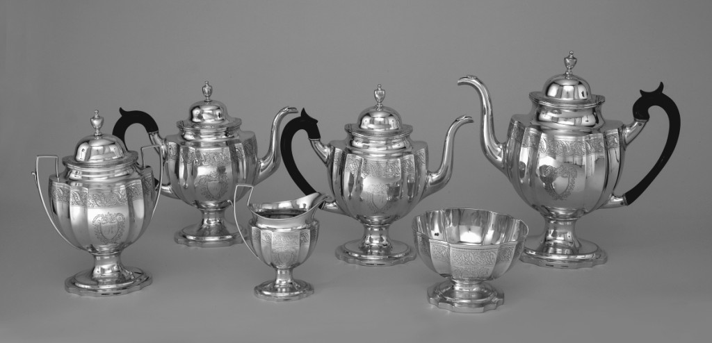 Tea and coffee service by Littleton Holland (1770-1847), Baltimore, circa 1800. Silver, wood.