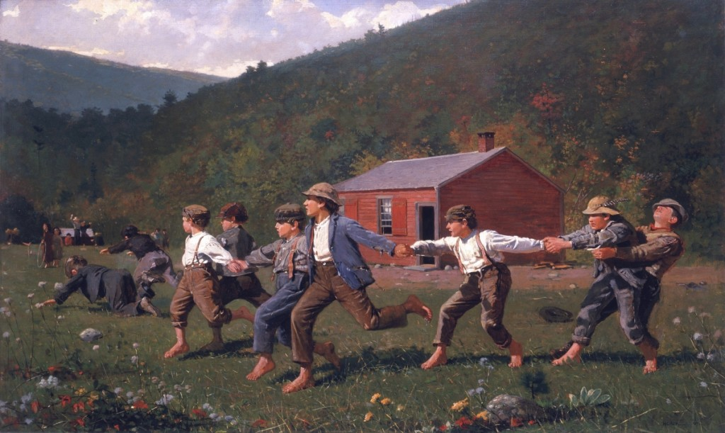 """""""Snap the Whip"""" by Winslow Homer (1836-1910), 1872. Oil on canvas. Collection of The Butler Museum of American Art, Youngstown, Ohio: Museum Purchase, 1919/Bridgeman Images."""