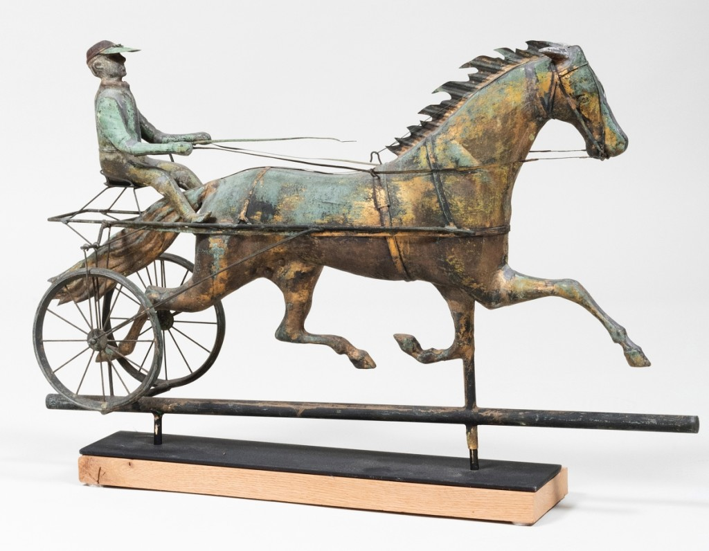 A choice American Horse and Sulky on a stand and measuring 19 by 31 by 7 inches overall, pulled in 17 bids to reach $20,480, twice its high estimate.