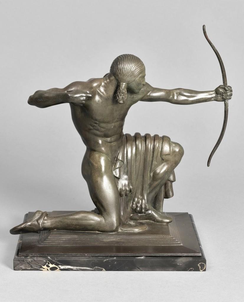 "Paul Manship, ""Indian,"" 1914. Bronze, black-brown patina. Wadsworth Atheneum Museum of Art, Bequest of Honora C. Robertson. ©Estate of Paul Manship."