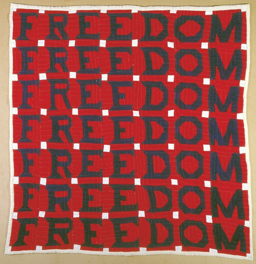 Freedom Quilt by Jessie B. Telfair (1913-1986) Parrott, Georgia, 1983. Cotton with pencil, 74 by 68 inches. Collection American Folk Art Museum, New York; Gift of Judith Alexander in loving memory of her sister, Rebecca Alexander. Photo by Gavin Ashworth.