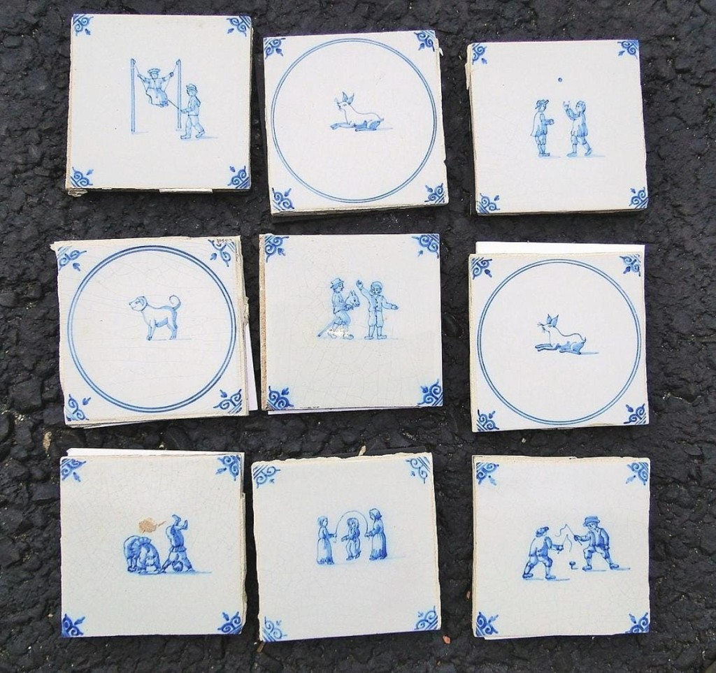 Playful themes were depicted among a lot of more than 100 5-inch Delft tiles. Estimated $200/300, they found a serious buyer who laid out $6,250.
