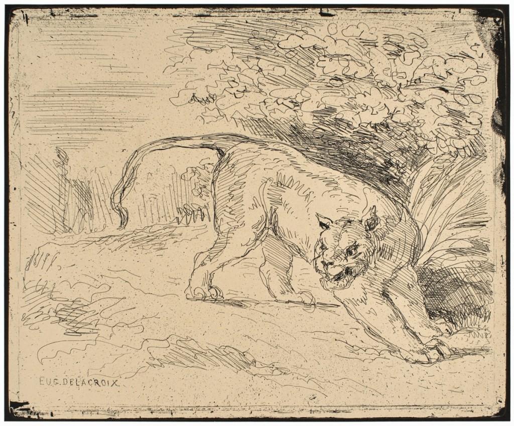 """Eugène Delacroix (French, 1798-1863), """"Tiger at Bay (Tigre en arrêt),"""" 1854, printed 1921."""