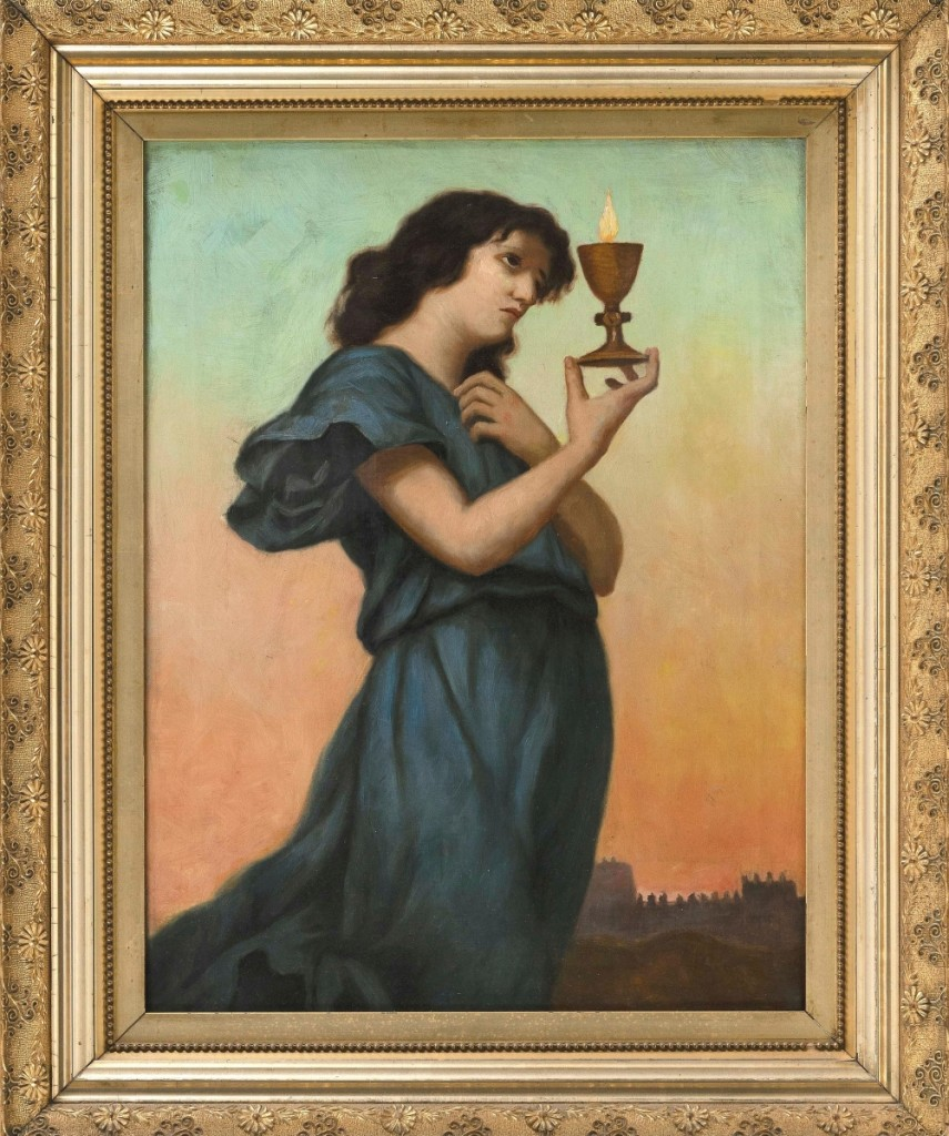 This American school oil on canvas portrait of a young woman holding a candle had a Pre-Raphaelite feel and charmed bidders, selling to a private collector for $3,250 ($400/600).