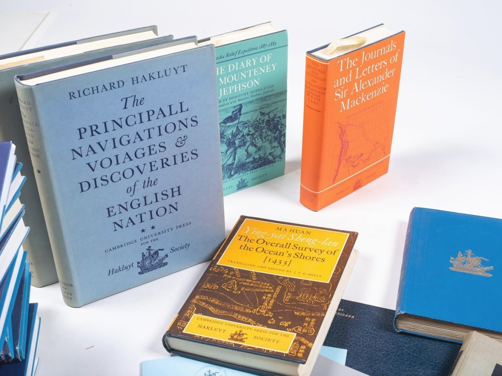 The Hakluyt Society, established in the mid-Nineteenth Century, prints early, often previously unpublished works on marine history and early voyages of exploration. This lot of 68 books, mostly published by the society, realized $7,200.
