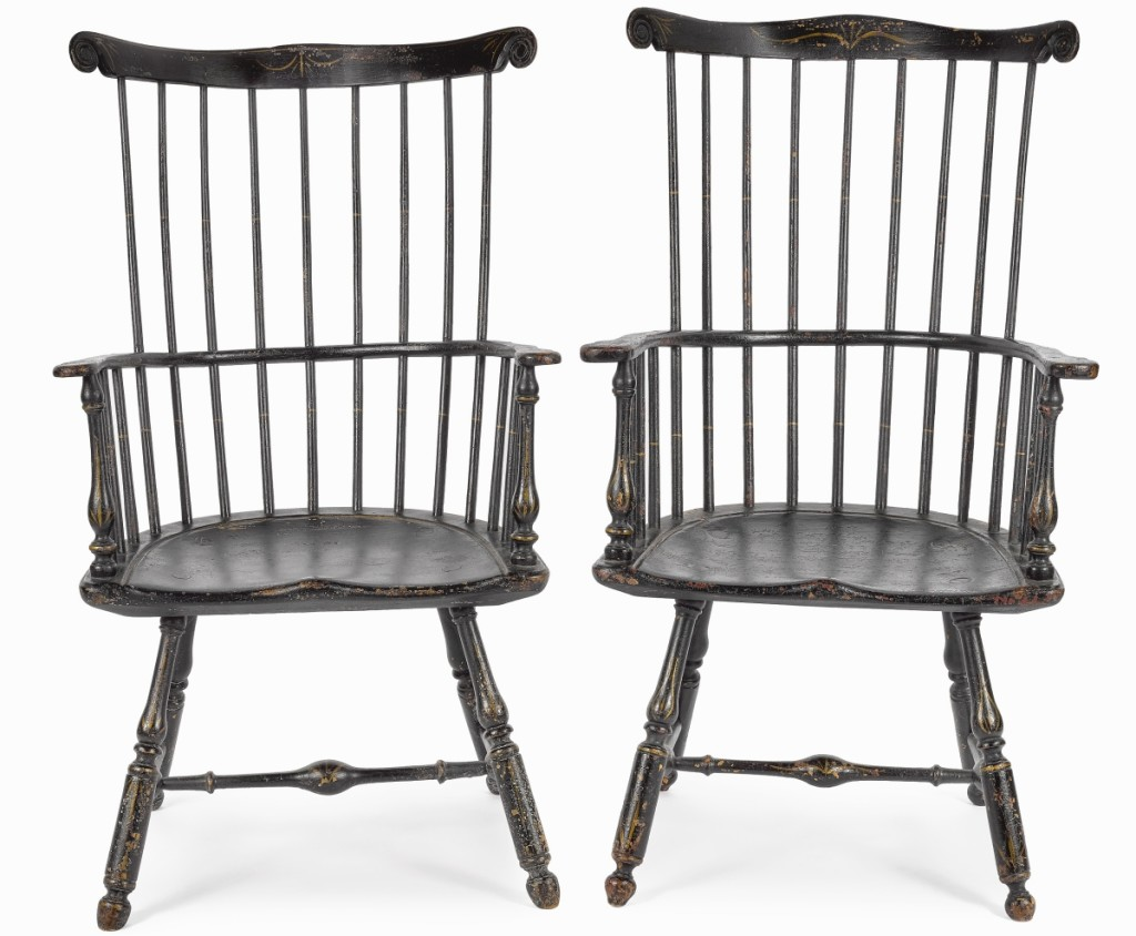 "The sale's top lot was found in this near pair of Eighteenth Century Philadelphia Windsor armchairs at $79,300. ""The key there was that it was an almost pair, which is sort of unheard of in the Windsor chair market,"" auctioneer Jamie Shearer said. The belief is that they were made for a husband and wife."