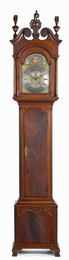 From Philadelphia maker Edward Duffield was this Chippendale walnut tall case clock dating to circa 1770. It was among the highest results for tall case clocks, a number of which rose above the $10,000 mark. This one brought $24,400.