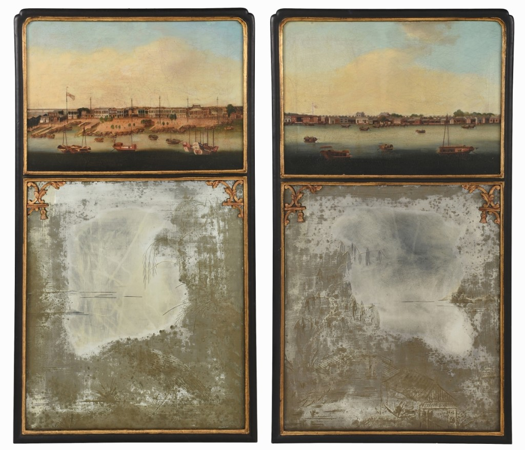 An international trade buyer, bidding on the phone, paid $123,000 for this pair of China trade painted mirrors that depicted the Pearl River at Canton and the Hongs at Canton, both circle of Spoilum, circa 1800-03 ($15/25,000).