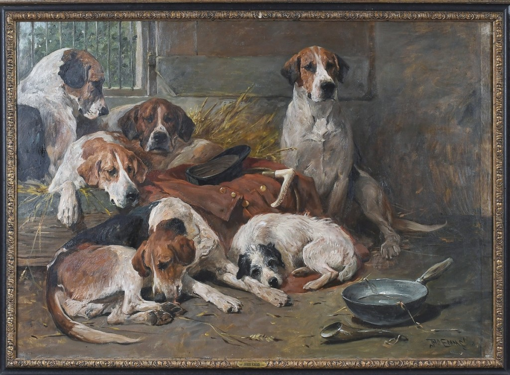 """""""There was a lot of private collector interest in sporting pictures, which we were very happy to see,"""" Brunk said of a group of several paintings from a duPont family estate in Charlottesville. Leading the group was """"New Forest Buckhounds and a Terrier in the Kennel After the Hunt"""" by John Emms (British, 1843-1912), which brought $147,600 from a private American collector; it was the second highest price in the sale ($80/120,000)."""
