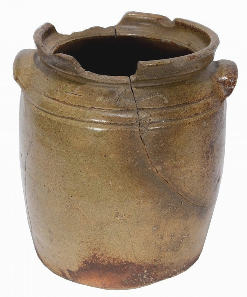 It had losses and cracks, but it was by Dave Drake during his time at the Lewis Miles Pottery. This 2-gallon jar went out at $2,500.