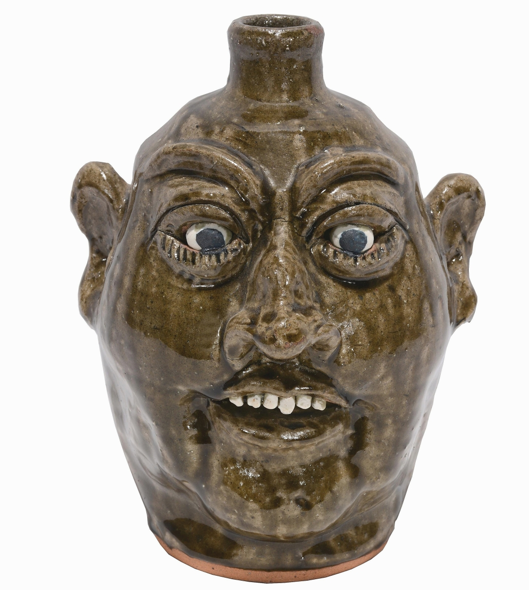 Lanier Meaders' top work in the sale was a 1988 face jug that brought $2,125. It measured 10 inches high and was in mint condition.