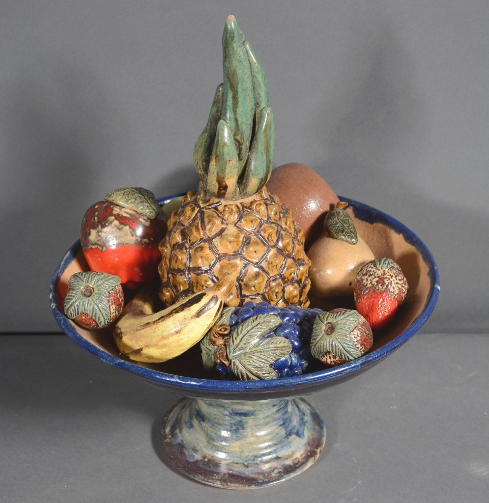 From North Carolina potter Billy Ray Hussey came this scrumptious fruit bowl, which sold for $2,750. The result was the best for any North Carolina potter in the sale. Hussey works out of a wood fired kiln in Bennett, where he creates earthenware works with salt and alkaline glazes, many inspired by historic southern pottery forms.