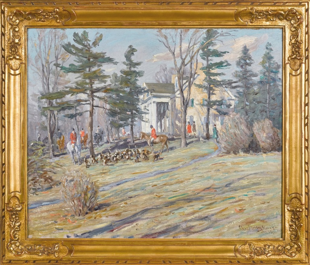 The sale's leader in fine art came with Charles Morris Young's (American, 1869-1964) fox hunting scene at the Marshall estate in Huntington Valley, Penn., which brought $31,720. Two years before he died in 1964, Young's home burned down with 300 of his finest paintings inside.