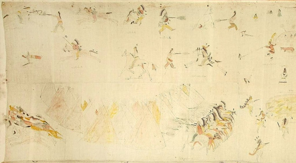At $90,000, the top lot of the sale was this pictographic painted muslin tipi liner attributed to Mato Luta (Red Bear), a Lakota Hunkpapa. Pictured is a detail of one of the four sections, which stretched ten feet long in total. It was believed to have been created at Fort Yates during the final years of the Sioux-Cheyenne campaign.