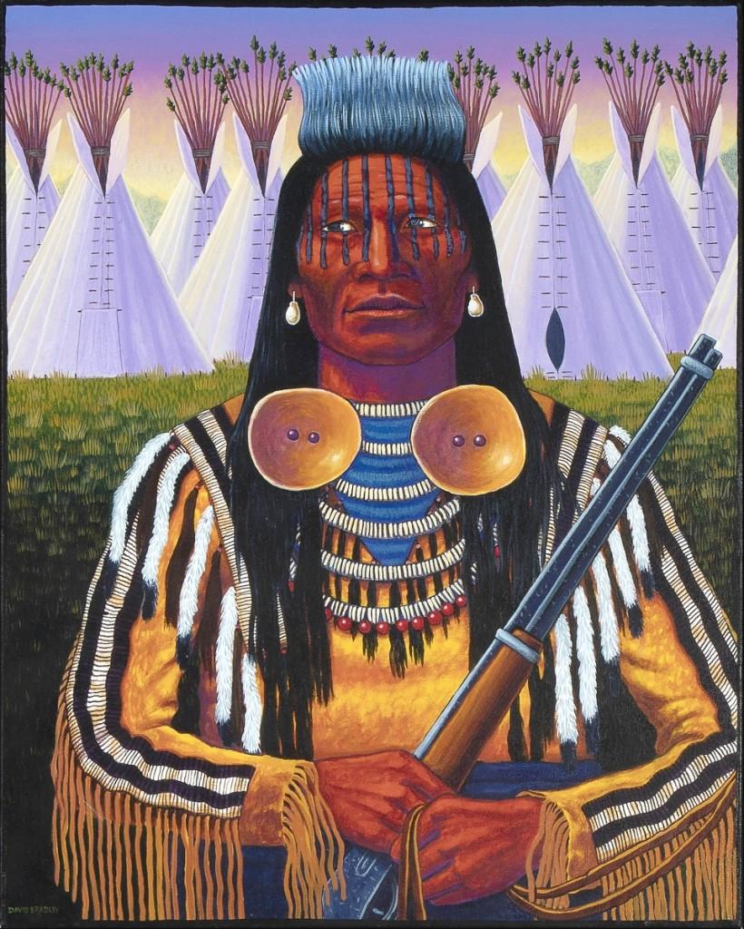 """""""Crow Warrior"""" by David Bradley (Chippewa, b 1954), acrylic on canvas, 30 by 24 inches, 1994, $11,800."""