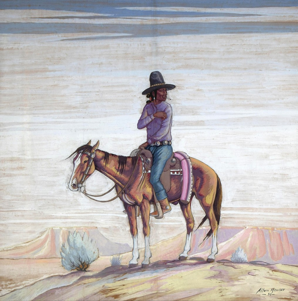 """Blitch said """"Indian Rider"""" by Allan Houser was among the largest two-dimensional works by the artist the auction house had ever handled. The mixed media measured 42 by 42 inches and came from the collection of artist Tony Abeyta. Both artists had connections to the Institute of American Indian Arts in Santa Fe. The work went out at $10,620."""